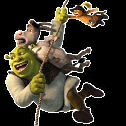 Shrek Donkey and Puss Flying