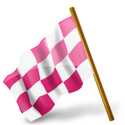 Map Marker Chequered Flag Left Pink
