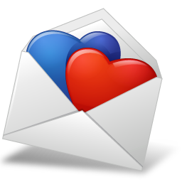 Mail Envelope Hearts BlueRed