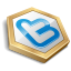 Gold shape twitter Icon
