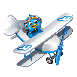Twitter flying boy blue